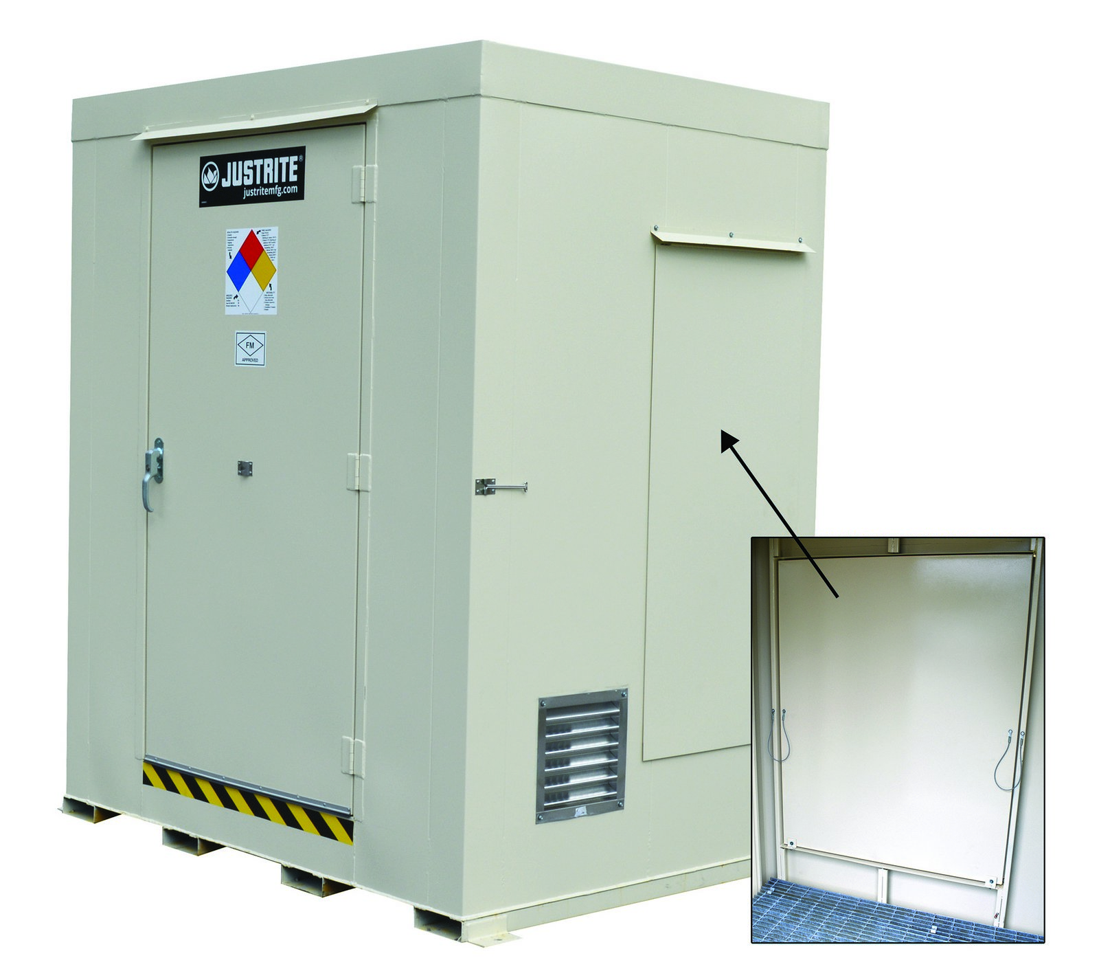 Non-Combustible Outdoor Safety Locker, Explosion Relief Panels