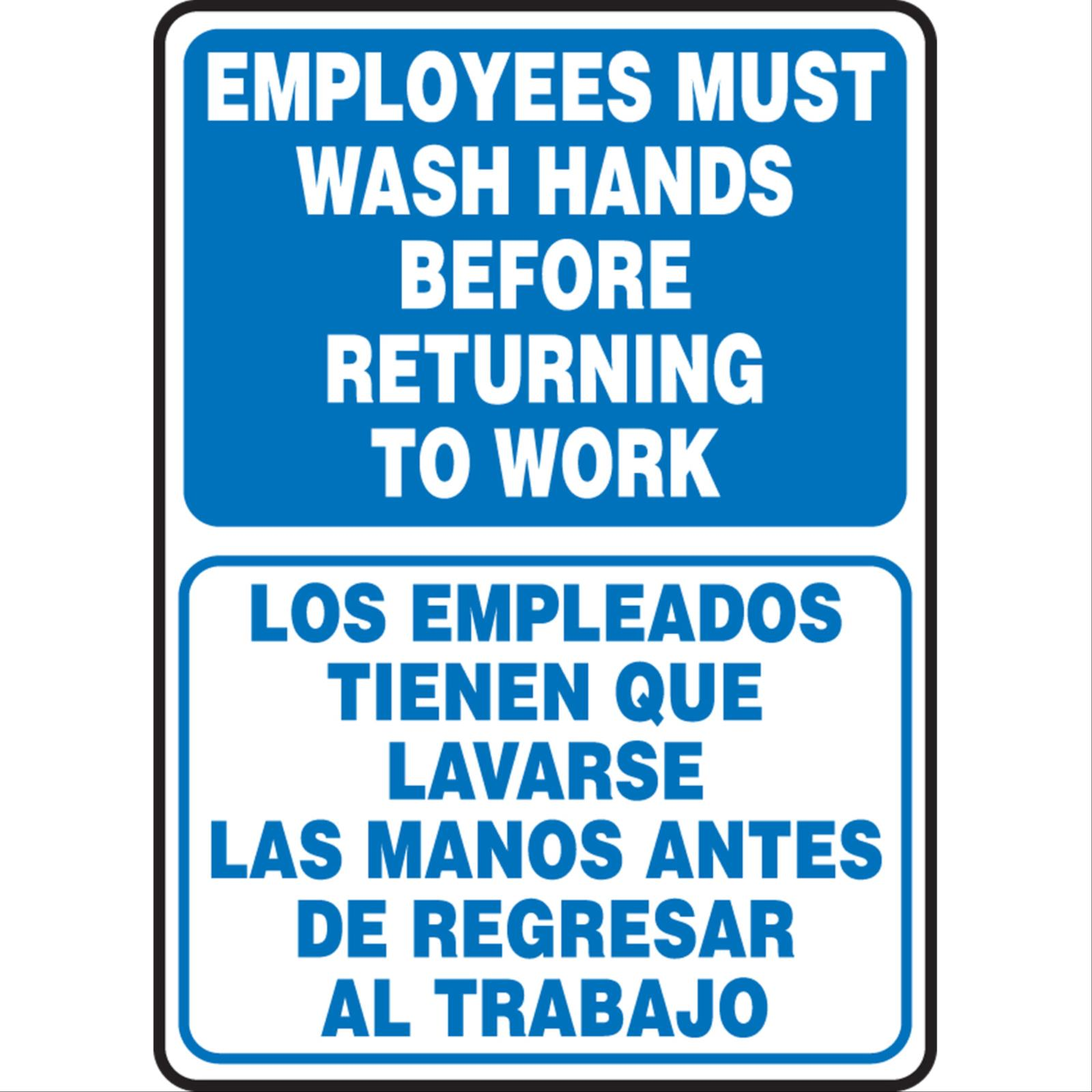 Bilingual, Employees Must Wash Hands Before Returning To Work Signs, COVID-19