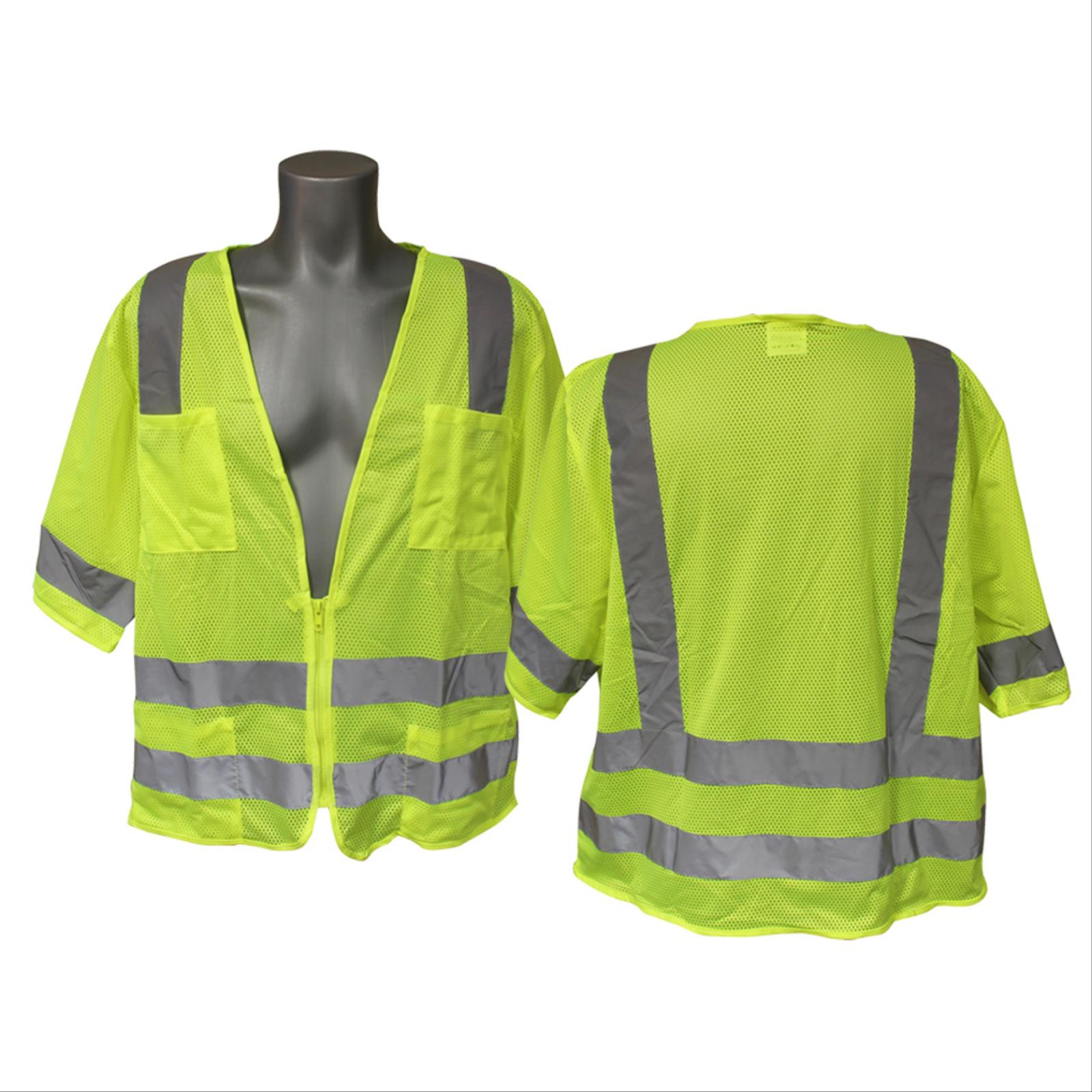 Mesh Safety Vest with Zipper Closure, Class 3 Type R